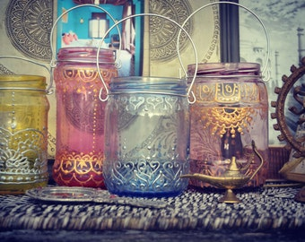 Henna Painted Glasses Reciling Hippie Bohemian Candle Ethnic Tribal