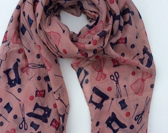 pink sewing scarf, pink scarf, scissor scarf, pink fashion scarf, navy and pink scarf, scarves, wrap, shawl, fashion accessory