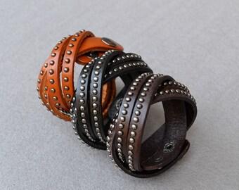 Leather Studded Bracelet Cuff Leather Cuff Bracelet Tan Brown Black