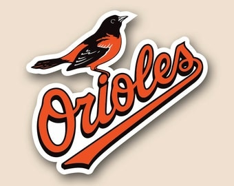 "BALTIMORE ORIOLES Set of 2 Vinyl Cornhole DECAL Logo Wall Sticker Car Truck 12"" Size"