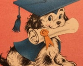 Vintage Graduation Card Sweet Girl  Spaniel 1950s