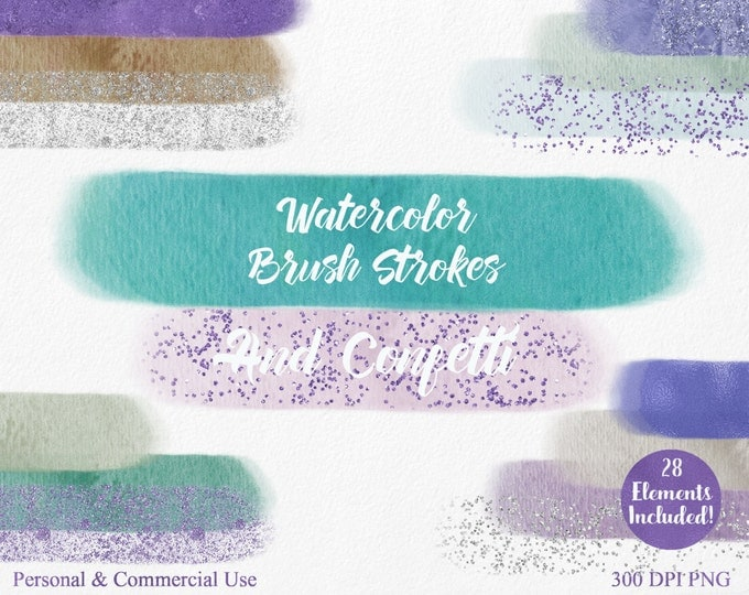 WATERCOLOR BRUSH STROKES Clipart Commercial Use Clipart 28 Watercolor Headers Blue Silver Confetti Clipart Watercolor Textures Logo Clip Art