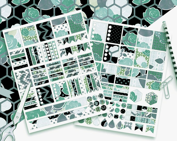 TEAL & MINT FLORAL Digital Sticker Sheets Black White Metallic Flower Stripe Rose Printable Planner Sticker Erin Condren Planner Stickers