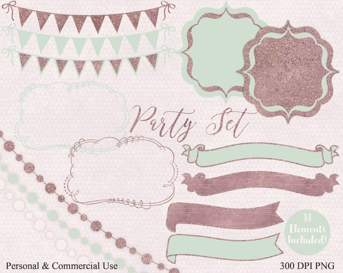 MINT & ROSE PARTY Clipart Commercial Use Clip Art Mint Glitter Banner Bunting Frame Birthday Planner Shower Wedding Invitation Clip Art