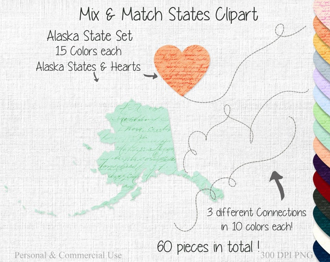 ALASKA STATE to STATE Clipart Commercial Use Clipart Mix & Match States Wedding Clipart Alaska Map Graphic Personalized Heart Map Clipart