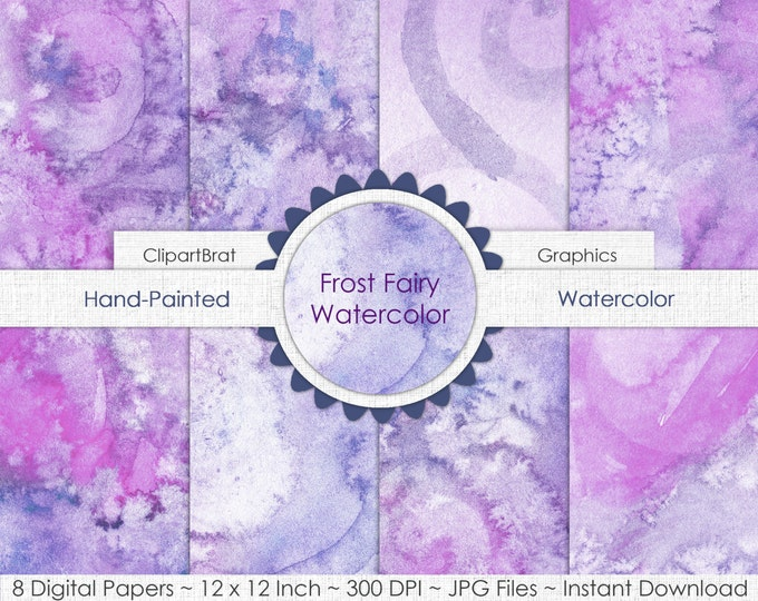 WATERCOLOR Digital Paper Commercial Use Background Paper Frost Fairy Lavender Purple Watercolour Hand-Painted Real Watercolor Texture Papers
