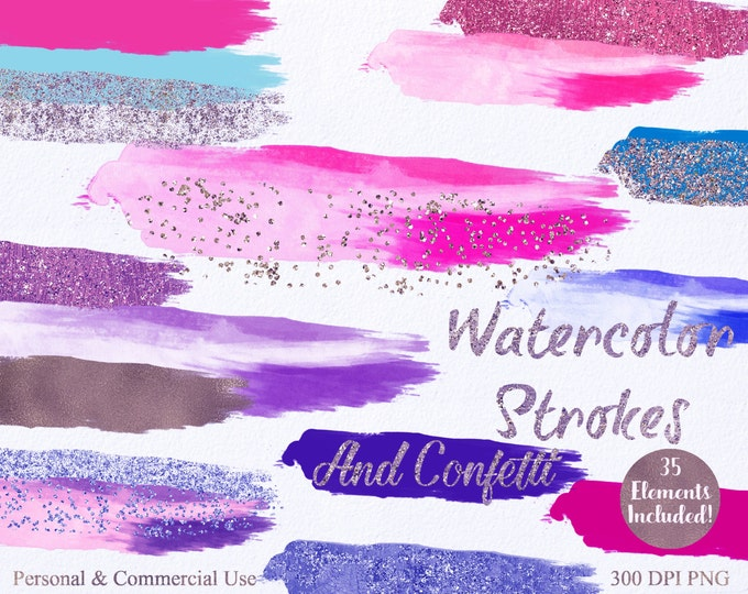 WATERCOLOR & CONFETTI PAINT Strokes Clipart Commercial Use Clipart 35 Watercolor Brush Pink Blue Confetti Watercolor Textures Logo Clip Art
