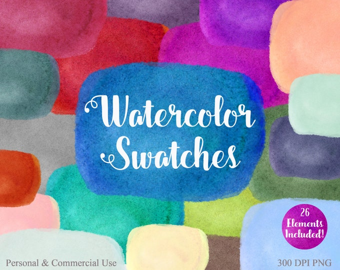 WATERCOLOR SWATCH Clipart Commercial Use Clipart 26 Watercolor Paint Rectangles Watercolor Paint Textures Watercolor Swatches Logo Clip Art