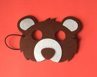 Ready to ship! Brown bear mask - Woodland characters - Kid's masks - Animal Mask - Dress Up - Halloween - Pretend Play