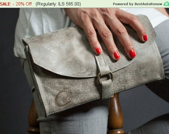 Summer SALE 20% OFF!! Light Gray Leather Clutch - Leather Evening Bag - Women's Leather Shoulder Bag - Convertible Leather Purse