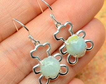 Great Genuine Aquamarine Earrings Sterling Silver