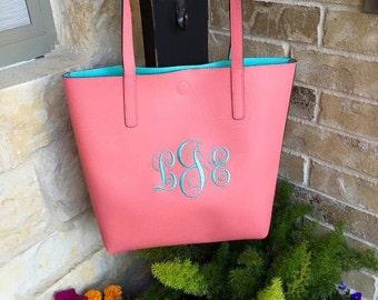 Coral Handbag, Purse with Aqua Monogram, EMBROIDERY