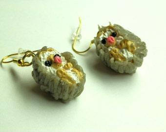 Mini-Hedwig Baby Hedgehog Drop Earrings
