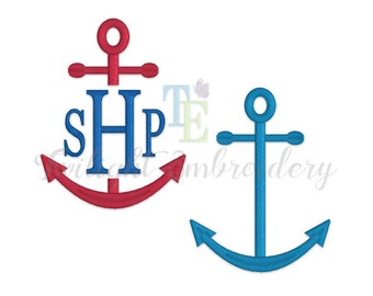 Set of 2 Anchor Satin Stitch Machine Embroidery Designs, Split Anchor Machine Embroidery Design, Nautical Machine Embroidery Designs 0028