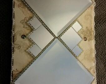 Accent mirror, wall mirror, home decor, wall decor, square mirror, fabric-bordered mirror, wall art, fabric framed mirror, home accent