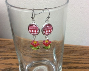 Christmas earrings with red flower charm