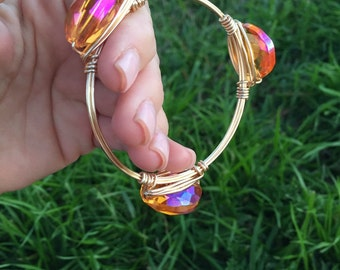 Tangerine crystal wire wrapped bangle bracelet