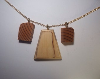 Recycled tri timber necklace