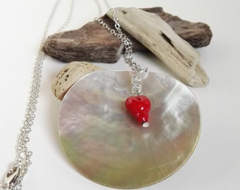Natural mother of Pearl pendant with red heart handmade by candlelight