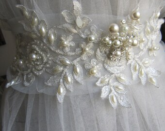 Ivory lace bridal belt sash, wedding lace and pearl sashs, wedding dress belt