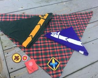 Vintage boyscouts neckerchiefs badges and fire starter