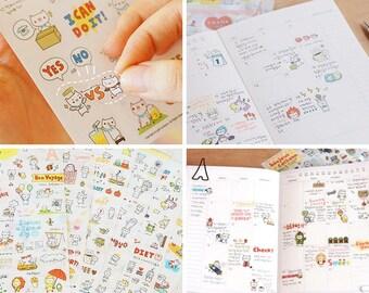 Cochonn Stickers v1, Kawaii Korean Stickers, Cute Planner Stickers, Kawaii deco sticker, 6 in 1 per pack