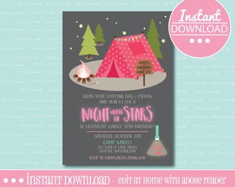 Camp Out Birthday Party Invitation -  EDITABLE - INSTANT DOWNLOAD - Editable File - Personalize - Edit Yourself with Adobe Reader-Printable