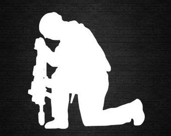 Kneeling Soldier Vinyl car decal