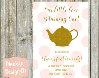 Tea Party Birthday Invitation - Pink & Gold - Glitter - Printable - First Birthday
