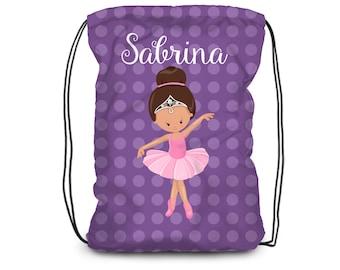 Personalized Ballet Drawstring Backpack - Ballerina Dance Bag, Purple Polka Dots, Ballet Backpack, You Pick Girl - Kids Personalized Gift