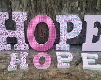 HOPE, Breast Cancer, Home Decor, Wooden Letters, Wood Letters, 9 Inch Letters, Decorative Letters, Set of 4
