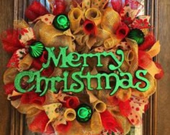 Mesh Burlap and Ribbon Merry Christmas Wreath