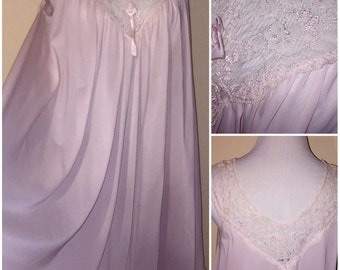 Vintage Shabby Chic MISS EALINE Pink Short Flowy Lacy Nylon Nightgown sz M/L