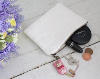 Creme Zipper Pouch, Pencil Case, Makeup Bag, Cotton Pouch
