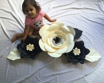 Large Paper Flowers , Cream , Black, beautiful Wall Decor, set of 3 , Home decor,