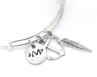 Monogram Charm Bracelet | metal stamped | love | couples | silver | bronze | gifts for her | under 20 | personalized | customized