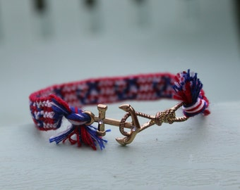 Anchor Woven Friendship Bracelet with Gold Clasp