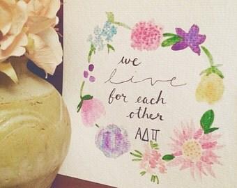 Alpha Delta Pi Flower Watercolor Print