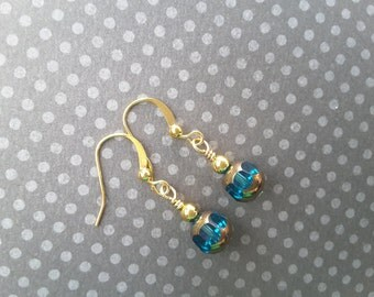 Teal and Gold Glass Drops . Earrings