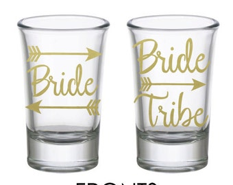 Bride and Bride Tribe Personalized Bachelorette Party Shot Glass