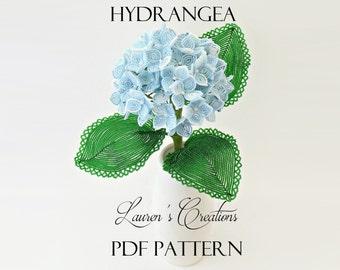 PDF Pattern - French Beaded Hydrangea, sead bead flower tutorial, wire wrapped flowers, Lauren's Creations Patterns, DIY beading tutorial