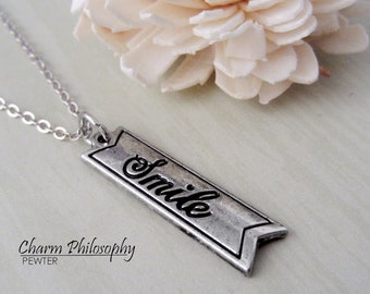 Smile Necklace - Word Tag Charm - Antique Silver Toned Jewelry