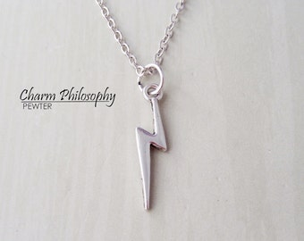 Lightning Bolt Necklace - Scar Charm - Antique Silver Jewelry