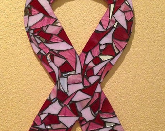 Mosaic Wall Art - Stained Glass Mosaic Breast Cancer Awareness Ribbon - Pinks & Customizable!