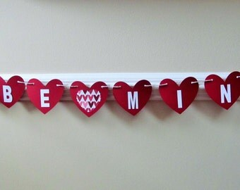 """Valentine Hearts """"Be Mine"""" Garland Paper , Party, Holiday , Mantle Garlands, Party Decoration Photo Props,Valentine Day,Weddings,Shower"""