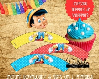 Pinocchio Cupcake Toppers & Wrappers / Pinocchio Birthday / Pinocchio Cupcake Topper  / Pinocchio Cupcake Wrapper