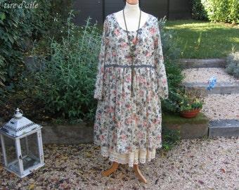 Robe en voile de coton fleuri, romantique et shabby chic
