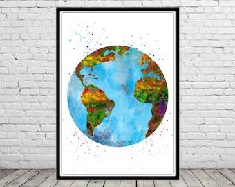 Earth, Earth watercolor, Earth map, watercolor Earth, Earth print, Office Art (1287b)