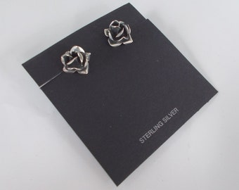 Oxidized .925 Sterling Silver Rose Stud Post Earrings