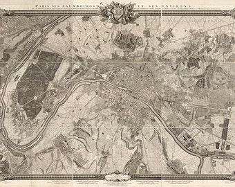Map of Paris, France, 1731.   Restoration Hardware Home Deco Style Old Wall Map. Vintage Reproduction